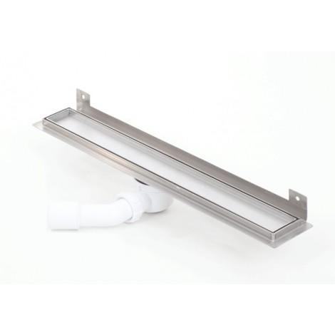 Canalina doccia con inserto piastrellabile flangia piegata WALL SILVER 700mm